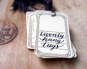 Decorative Paper Hang Tags, Rustic Gift Tags, Wedding Place Cards, Seating Cards (20 Tags)