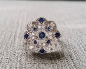 "Estate Halo Blue Sapphire Diamond Antique Engagement Ring Victorian Art Deco Filigree Lace Floral Flower 14K White Gold ""The Emma"""