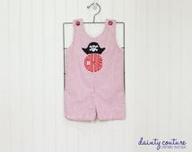Birthday shortall - Pirate romper - Red seersucker jon jon - Pirate birthday outfit - free personalization