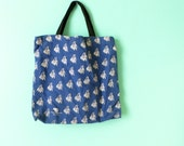 Grand Piano Bag // Blue and White Typography // Pianist // Gift // Canvas Tote Bag