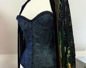 """SAMPLE SALE black coutil cupped overbust corset, steel boned 24"""" waist"""