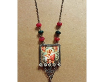 Christian Jewelry Soldered Virgin Mother Necklace with Vintage Rosary Medal