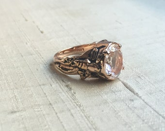 SALE- The Bee Ring- Clear Quartz in Rose Gold Plated Pink Silver
