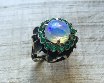 Emeralds and Opal In Sterling- Sunflower Ring
