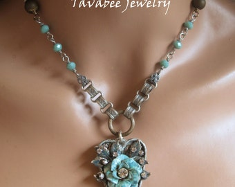 Valentine  Turquoise Heart Jewelry and Patina ROSE, bookchain and rhinestone Necklace
