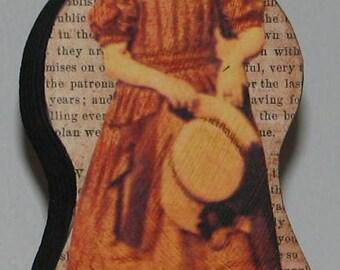 Primitive Style Wood Doll Girl Civil War Era With Hat Priscilla