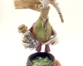 Sculpey figurine nicnac polymer clay / Goose Geese of Magical potions / Eye of Newt Whimsy Magic and Wizardry wizard by a cauldron