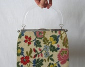 Tapestry Bag Needlepoint Purse Floral Fabric Handbag Pocketbook Embroidered Purse 1950s Convertible Bag