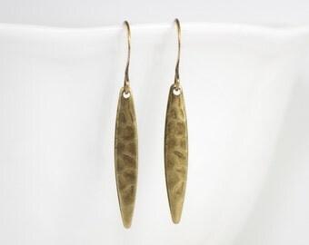 Long Antique Gold Marquis Dangle Earrings, Hammered Gold Earrings, Antique Gold Drop Earrings, Hammered Antique Gold Earrings [#115]