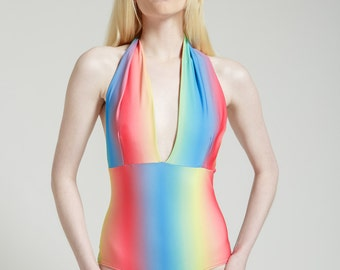 Ombre Rainbow Marilyn One Piece Halter Bathing Suit
