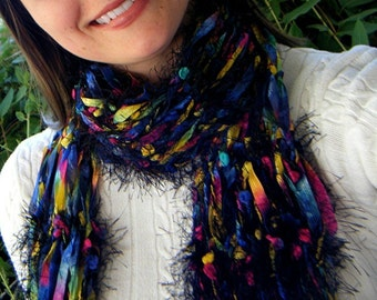 Black Rainbow Scarf Ribbon Handknit Scarf Includes Purple, Pink, Yellow, Blue, Green Knit Accessories