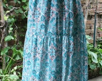 Long blue cotton India print maxi dress Large