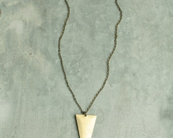 Long Arrow Necklace for Layering, Triangle Pendant Necklace, Gold Colored Brass