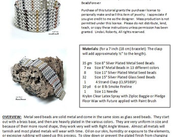 Beading Tutorial - Metal Bead Sampler Bracelet - Right Angle Weave Jewelry Pattern