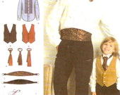 Father Son wedding wear Grooms ring bearer Vest cummerbund ties shirt  Mens boys sewing pattern Simplicity 3972 UNCUT Special occasion