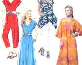 Lounging Boho caftan Dress Jumpsuit pants Summer casual sewing pattern Butterick 5652 Large XXL Plus Size