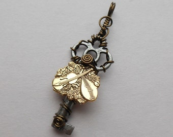 Instruments Small Key Pendant -- Gold Lute, Gold Violin, Small Wire Wrapped Antique Key Pendant, Music Lovers Necklace, Cello, Viol