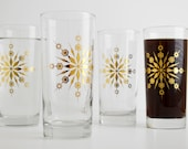 Gold Snowflake Glasses - Set of 4 Holiday Glasses, Snowflake Glassware, Holiday Glassware, Christmas Glasses, Metallic Gold Holiday Glasses