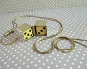 Vintage Sterling Silver Dice Box Pendant and Chain A.L.L. Co.