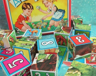 Vintage ABC Blocks Picture Cubes Childrens Puzzle Made in West Germany