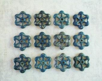 Set of Twelve Blue Industrial Faucet Handles - Valves