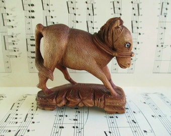 Little Vintage Folk Art Hand Carved Donkey