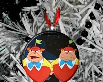 """Disney Alice in Wonderland tweedle dee and tweedle dum Image Christmas Tree 2.25"""" Ornament"""