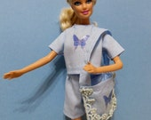Barbie Doll Clothes, Blue Shorts and Top, Blue Tote, Three piece outfit. Barbie Clothes
