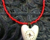 Ceramic White  Heart Necklace Handmade by Sharon Bloom Designs
