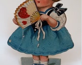 Vintage Valentine stand up Girl with hearts on fan