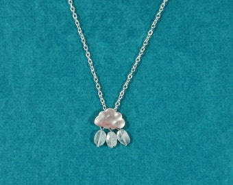 Rain Cloud Necklace with Moonstone Beads