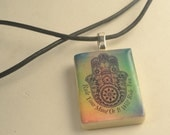 "HAMSA Colorful Pendant Necklace ""Rule Your Mind Or It Will Rule You"""