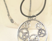 Large PEACE SIGNS Pendant Necklace Black Leather Neck Cord Tibetan Silver