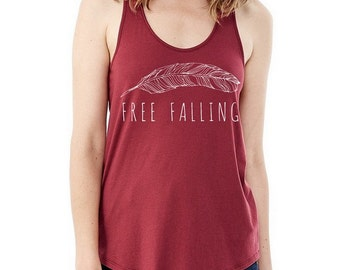 Free Falling Ladies Shirttail Tank Top Shirt screenprinted Alternative Apparel