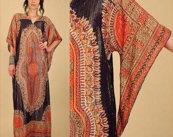 RARE ViNtAgE 70s Dashiki Maxi Dress Sheer Indian Cotton GOLD RAinbow Metallic Lurex ANGEL Wing Caftan Angelwing HiPPiE Tribal Festival