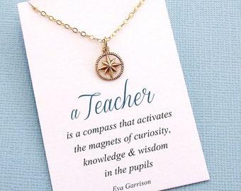 Teacher Gifts | Compass Necklace, Teacher Gifts, Mentor Gift, Compass Charm, Compass Rose, Mentor Appreciation, Mentor Teacher Gift | T05