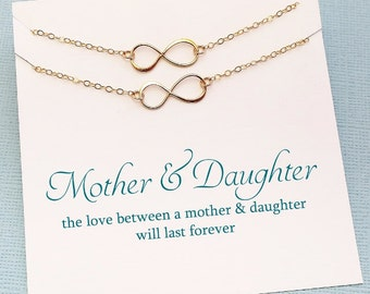 Mother Daughter Necklace | Infinity Necklace Set, Mother Daughter Jewelry, Daughter Gift, Gift for Mom, Mother Gift, Mom Jewelry | MD01