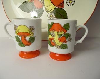 Vintage Orange Mod Mushrooms Retro Large Plastic Serving Tray with Matching Ceramic Teacup Japan