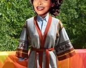 vintage 70s sweater CARDIGAN women ethnic knit wrap belt Medium bell sleeves jantzen