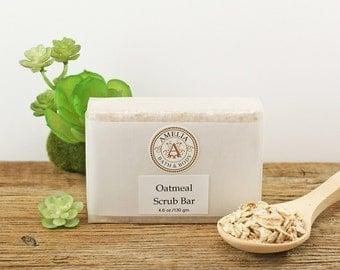 Natural Oatmeal Soap | Body Scrub, Unscented Soap, Scent Free, Exfoliating Soap, Womens Soap, Vegan Soap for Men | Oatmeal Scrub Bar