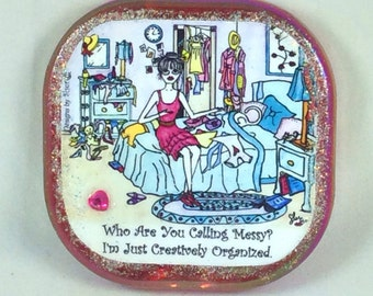 MESSY - Compact mirror, Lulu, cat, whimsical, funny sayings, girlfriend purse mirror gifts, bridesmaid gifts, Sher