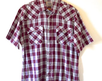 Vintage 60s 70s Levi Strauss Burgundy Plaid Short Sleeved Snap Button Western Shirt (size L)