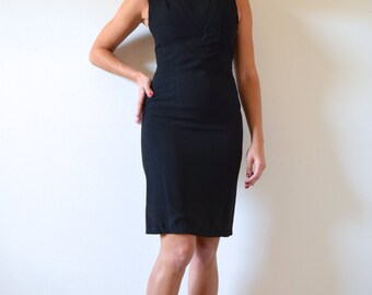 FLASH SALE / 20% off Vintage 60s Black Scoop Neckline Bombshell Wiggle Dress (size xs, small)