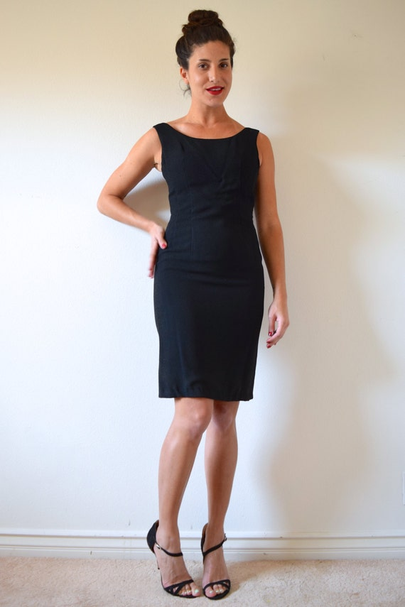 Vintage 60s Black Scoop Neckline Bombshell Wiggle Dress (size xs, small)