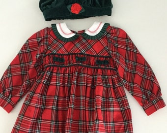 Vintage 90s Red Plaid Dress with Matching Green Velvet Hat 24 Months