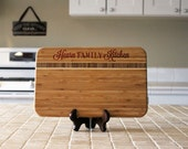 Personalized Cutting board, Custom Engraved Striped Bamboo, Kitchen Decor, Family Name, Housewarming Gift, Newlywed Gift --21130-CBBS-001