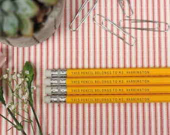 Set of 4 Teacher Pencils - Personalized Pencils, Custom Pencils, Engraved Pencils, Personalized Pencils, Teacher Gift --24009-PN12-110