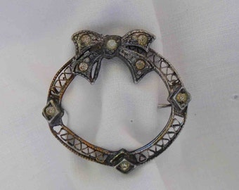 Vintage Twenties Tiny Sterling Silver Circular Bow Pin / Brooch with Clear Tiny Stones/ Depression Era Jewelry