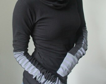 turtleneck cowl TOP/ extra long sleeves/ Black with grey tonal stripes