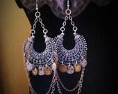 Bohemian  Gypsy Earrings  Belly Dance  Tribal Fusion Jewelry Boho Gypsy  Style  Jewelry  Coin Earrings  Exotic Earrings